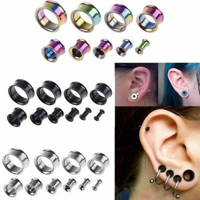 2Pc Surgical Steel Ear Gauges Double Flared Flesh Tunnel Plug Stretcher Expander