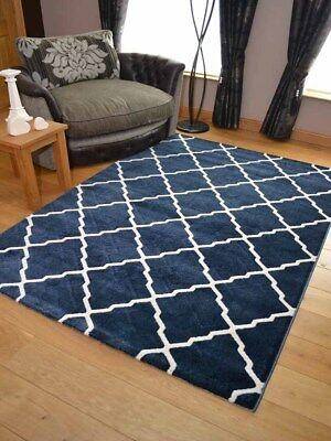 New Dark Blue Moroccan Trellis Modern Small Extra Large Rugs Long Hall Runners