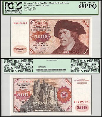 Germany 500 Deutsche Mark, 1980, P-35c, UNC, PCGS 68 PPQ