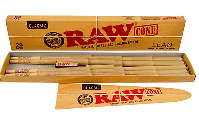2x Packs ( RAW Classic Pre Rolled Cones LEAN ) 20x Cones Per Pack