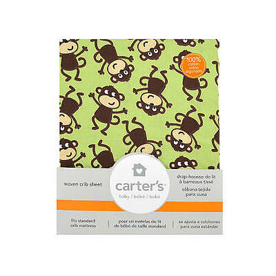 NEW Carters 100% Cotton Fitted Crib Sheet Monkeys Brown Green Soft Easy Fit  NWT