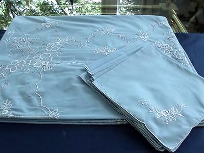 Vintage Set Sky Blue  66x82 Tablecloth 8 Napkins White Embroidery Lace Easy Care