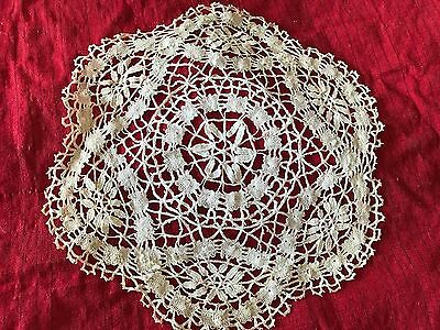 Antique French Doily - Pale Beige Hand Crochet Doily