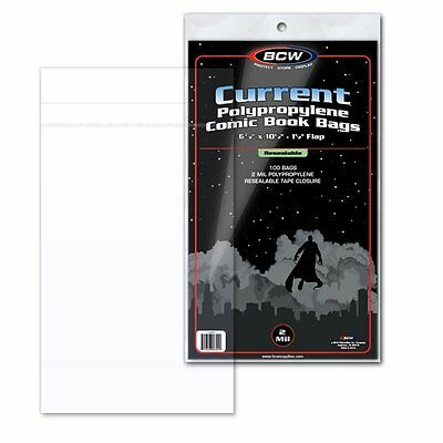 "100 BCW Current Modern Age Comic RESEALABLE Bags Poly 6 7/8"" x 10 1/2"" 2"" Flap"
