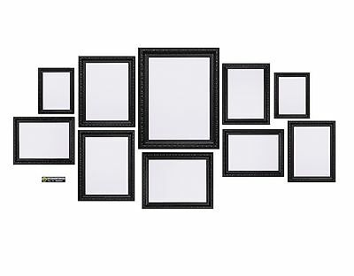 Black 10 Piece Multi Picture Photo Frame Shabby Chic Collage Aperture Wall Table