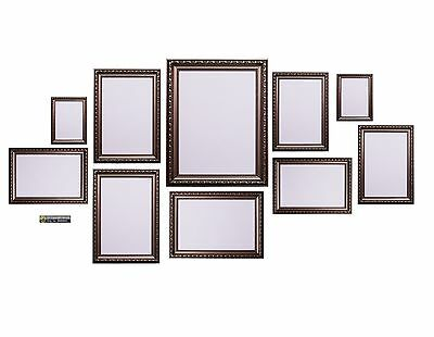 10 Piece Shabby Chic Gunmetal Multi Picture Photo Frame Collage Wall Aperture