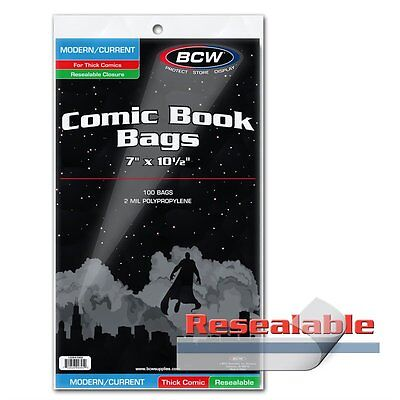 100 BCW Current Modern Age Comic RESEALABLE THICK Poly Bags/Sleeves