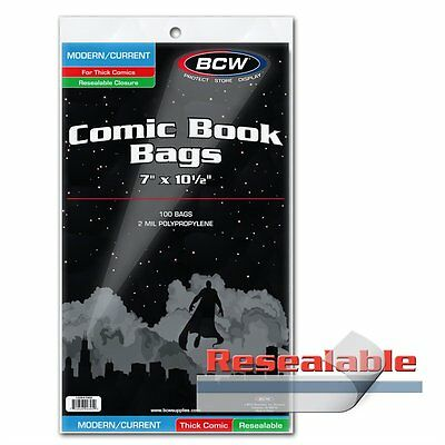 200 BCW Current Modern Age Comic RESEALABLE THICK Poly Bags/Sleeves