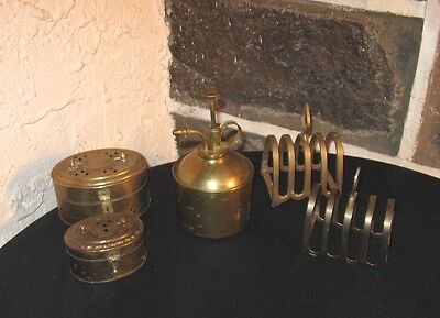 Vintage Brass lot old India brass water can/holders/boxes