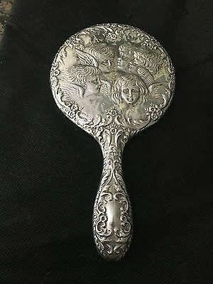 B&Co. Antique Silver hand Mirror embossed with cherubs