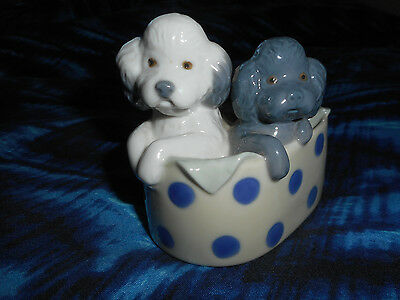"""NAO Lladro """"2 POODLE DOGS in Basket"""" Figurine Porcelain 1988 Valencia Spain"""