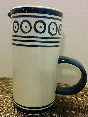 "Blue and White Ceramic Hand Painted in Italy 7 1/2"" Pitcher"