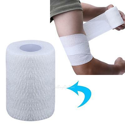 Self-adhesive Elastic Wrap Bandage Sport First Aid Body Gauze Tape Stretch White
