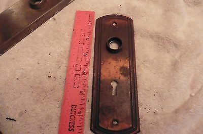 vintage Door lock backplate steel skeleton key hole plate
