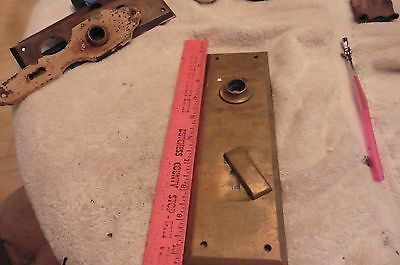 vintage Door lock backplate solid brass skeleton key hole plate swivel key cover