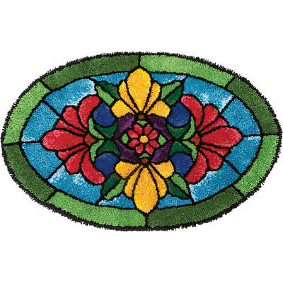 NEW Stained Glass Blossoms Latch Hook Rug- Needlework
