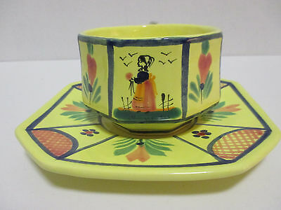 Quimper Soleil Yellow Breton Lady Cup & Saucer France 1968-1984