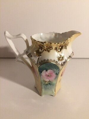 "Antique Prussia Creamer 4"" German hand printed"