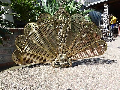Vintage Brass Peacock Fireplace Screen Asian Dancer Holding Ball Lion's Dance ?