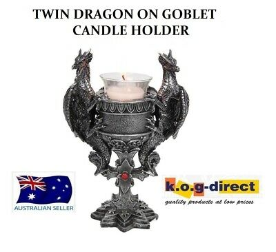 Gothic Black And Silver Twin Dragon On Goblet Candle Holder With Candle Dragtwcg