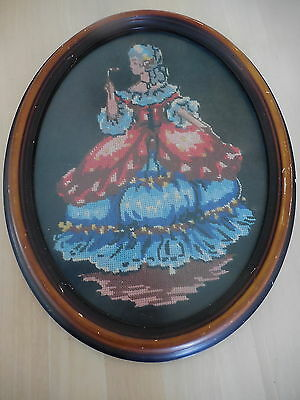 Tapestry  Victorian Lady Petit Point Completed & Framed
