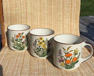 Three Made In Japan Floralstoneware  Mugs-White W/brown Speckle-
