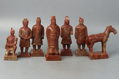 China Exquisite Hand-carved Shoushan Stone 'Terracotta Warriors and Horses' Seal