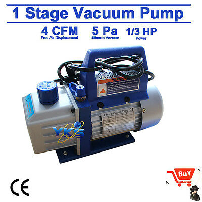 Single Stage 1/3HP 4CFM Rotary Vane Deep Vacuum Pump HVAC AC Air Tool R134 R410a