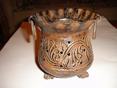 Antique Style Metal Decorative Footed Vase With Ring Handles Made In India
