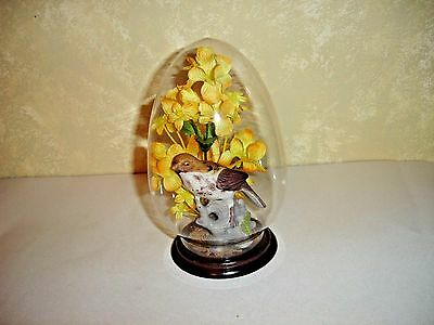 Porcelain Bird And Flowers In A Glass Dome