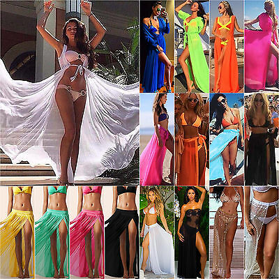 Women Sheer Mesh Bikini Cover Up Beach Sarong Swimwear Pareo Long Dress Skirt