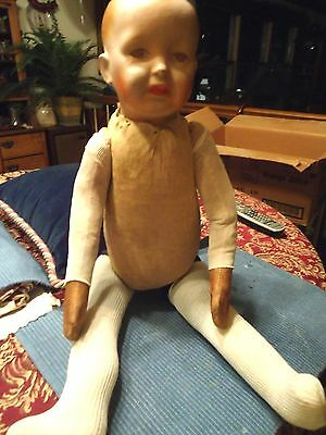 "Antique c1860s Lg 27"" L Baby Doll Paper Mache Composition Head Wood Chip Body"