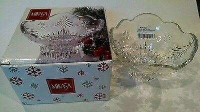 "Mikasa ~  6"" Crystal Footed Bowl Celebration Christmas Night ~ NEW IN BOX!!!"