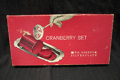 William Rogers Silver Plate Cranberry Set With Original Box