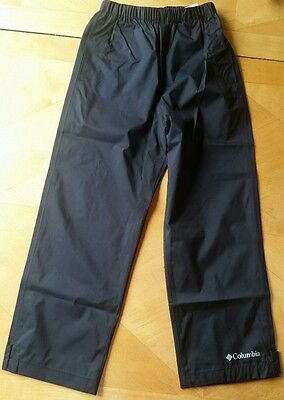 NWT COLUMBIA BLACK  * Trail Adventure * RAIN PANTS YOUTH XS 6 7 or Small S 8