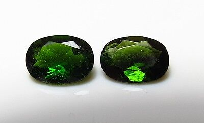2pc 7x5mm FACETED CHROME DIOPSIDE natural OVAL CUT LOOSE GEMSTONES