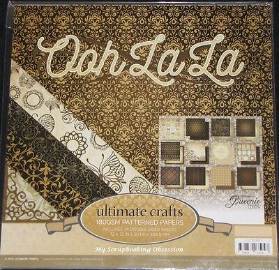 "Ultimate Crafts 'OOH LA LA' 12x12"" Paper Pk 24 Sheets Vintage Card Making/Craft"