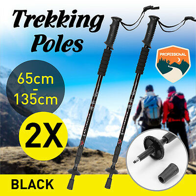 2x Lightweight Hiking Trekking Poles Walking Stick Anti Shock Adjustable Camping