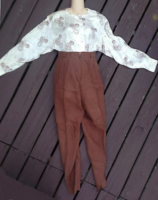 3-pc LOT ESCADA by Margaretha Ley Brown Linen Straight Skirt Pants Blouse 38-40