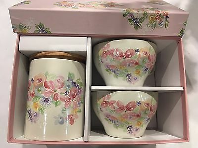 Japanese Hanamiyabi Tea Cup & Tea Canister Set Flowers  Made in Japan  F/S