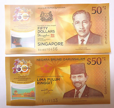 Singapore + Brunei $50 fifty dollars polymer, 2017, commemorative 50 years, UNC