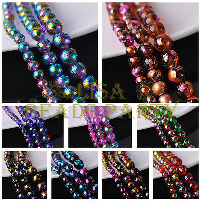 6mm/8mm/10mm Plated & Painted Round Crystal Glass Loose Spacer Beads Wholesale