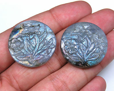 97.5 Cts Madagascar Labradorite Carved Flowers Green Fire Handmade Carving Pair
