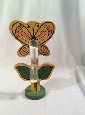 "16Q Vintage Wooden Butterfly Egg Timer 6"" Tall"