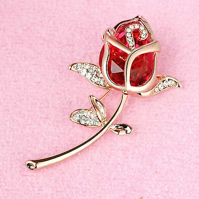 New Rose Flower Rhinestone Crystal Women Wedding Party Jewelry Brooches Pin