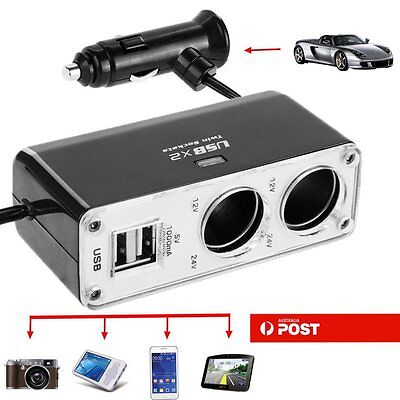 2 Way Car Charger Cigarette Lighter Power Socket Adapter Dual 2 USB Port 12v AU