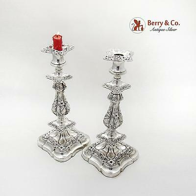 Old Sheffield Plate Candlesticks Floral Repousse 1830 English