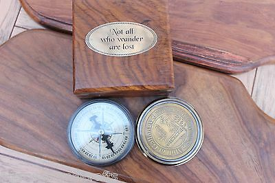 Nautical Robert Frost Poem Antique Brass Collectible Compass Maritime Nautical