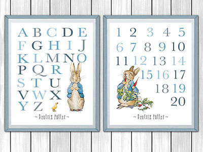 Nursery Prints Beatrix Potter Peter Rabbit Set of 2 - Decor Wall Art Unframed A4