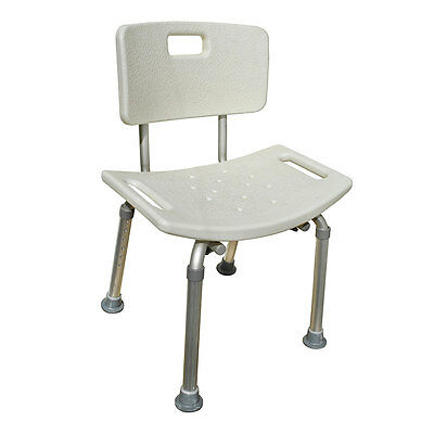 Aluminium Bath Shower Stool Seat Bench. Adjustable Height with Backrest